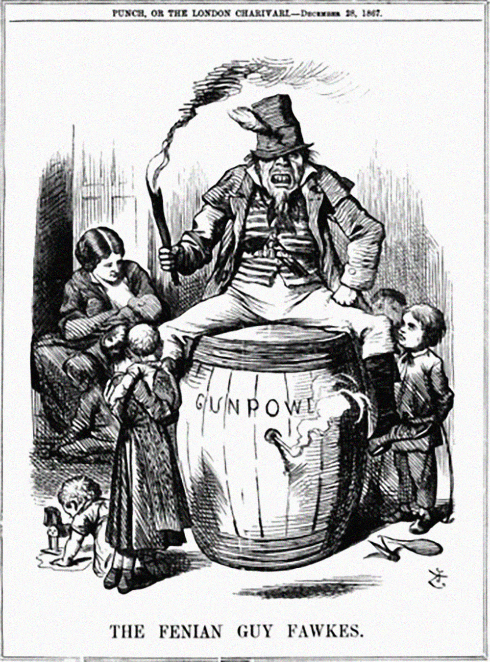 """The Fenian Guy Fawkes"" by John Tenniel, published in Punch magazine, on 28 December 1867 (Public Domain)"