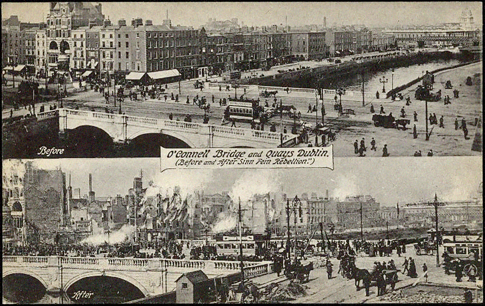 Sackville Street (now O'Connell Street) before and after the Rising in 1916